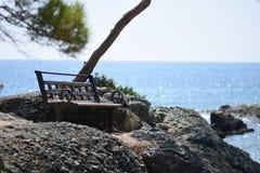 Bench and sea stock photos