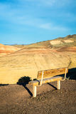 Bench Overlooking the Painted Hills in Eastern Oregon. Bench at the Painted Hills Unit of John Day Fossil Beds National Monument, Oregon royalty free stock image