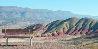 Bench overlooking panorama of the Painted Hills in Oregon. Painted Hills and the John Day Fossil Beds in eastern Oregon stock photography