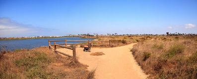 Bench overlooking the peaceful and tranquil marsh of Bolsa Chica wetlands. In Huntington Beach, California, USA royalty free stock photography
