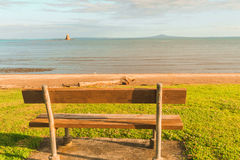 A bench overlooking the sea, Whangaparaoa, Auckland, New Zealand Royalty Free Stock Images