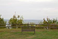 Bench Overlooking Sea Stock Photos