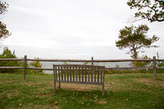 Bench Overlooking Sea Stock Images