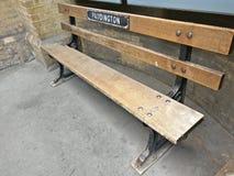 Bench at Paddington train station. Bench at a Paddington underground station Royalty Free Stock Photo