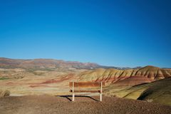Bench at Painted Hills stock photos