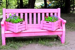 Bench painted in pink color. In the park stock image