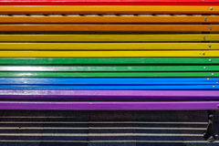 Bench painted with rainbow colors Royalty Free Stock Image
