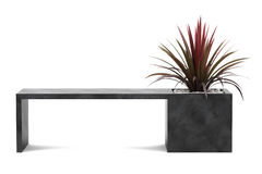 Bench with palm tree in pot isolated on white. Background Stock Photography