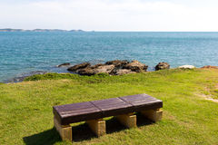 Bench with panoramic view. Laem Ya Pier at Kao Laem Ya-Moo Koh Samed National Park ,Thailand Stock Images