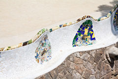 Bench in Parc Guell. The backrests of a bench in Parc Guell, Barcelona royalty free stock image