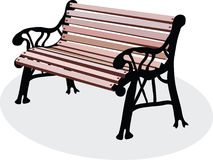 A bench is in a park. A vectorial image of wooden bench is in a park Royalty Free Illustration
