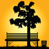 Bench in a park art illustration Stock Image