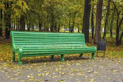 A bench in the park in autumn. And around yellow leaves Stock Photos
