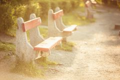 Bench at the park with footpath Stock Photo