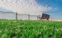 A Bench In The Park Green Grass Background Blue Sky Clous stock photo