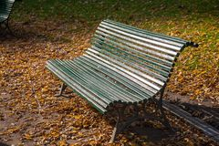 Bench in park. A green wooden bench and brown leaves on the ground in Montsouris Park, in Paris on a sunny, clear autumn day Stock Image