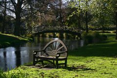 Bench in a park near small river. Christchurch, New Zealand Royalty Free Stock Photos