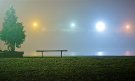 Bench in the park at night. Bench and tree in the park at foggy winter night Royalty Free Stock Images
