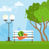 Bench in park. Picnic among the trees. Watermelon. Flat style vector illustration Royalty Free Stock Photos