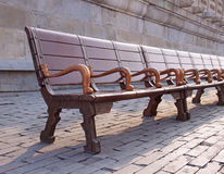 Bench in the park. Shallow depth of field stock images