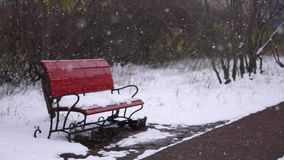 Bench in the park, snow falling stock video