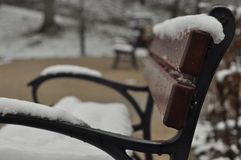 Bench in the park. Snow lying on the seat. Winter. Walk around the outside Stock Images