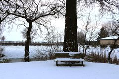 Bench in a park with snow in winter royalty free stock photo