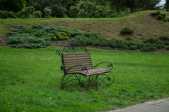 Bench in the park in summer Royalty Free Stock Images