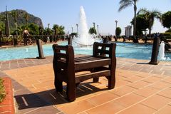 A bench in the park of the 100th anniversary of Ataturk Alanya, Turkey Stock Photo