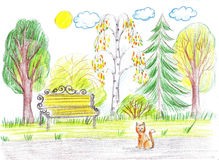 Bench in the park. There is no one, only a cat Royalty Free Stock Photos