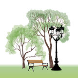 Bench in  park with tree and streetlamp. City park landscape. V. Bench in park with tree and streetlamp. City park landscape. Vector hand drawn sketch Stock Images