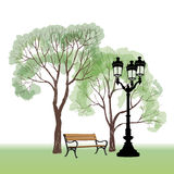 Bench in park with tree and streetlamp. City park landscape. Royalty Free Stock Images
