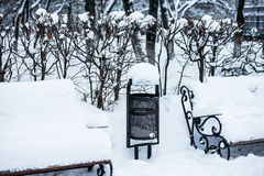 Bench in the park in winter Royalty Free Stock Photos