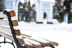 Bench in the park in winter. Royalty Free Stock Photos