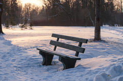 Bench in the park. Winter Park bench in the snow, sit and relax on it Royalty Free Stock Photo