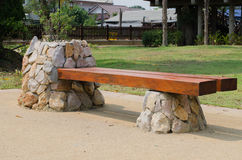 Bench in park. Wooden bench in the city park Stock Photos