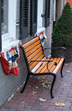 Bench with Patriotic Flags Royalty Free Stock Image