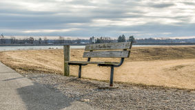 The bench. Photo of the bench at the shelby reservoir by the boat launch Royalty Free Stock Photos
