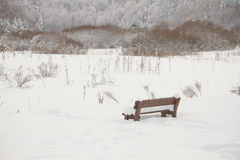 Bench in a picnic field covered with snow Royalty Free Stock Photos