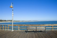 Bench on a Pier. Ventura Fishing Pier, California Royalty Free Stock Images