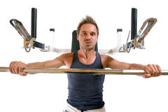 Bench press. Man lying on bench and lifting weight Stock Photo