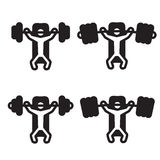 Bench press icon in four variations. Vector illustration.  Royalty Free Stock Image