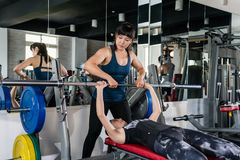 Bench Press Weightlifting Woman Stock Image