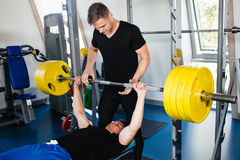 Bench Press Workout With Personal Trainer Stock Image