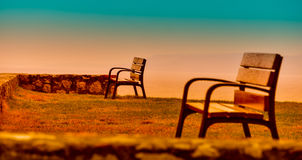 Bench in a privileged place , with intense colors Royalty Free Stock Image