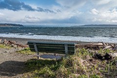 Bench And Puget Sound Stock Photo