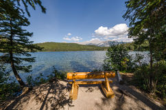 Bench on the Pyramid Lake Stock Photography