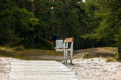 Bench with recycle bin in forest.  Stock Photos