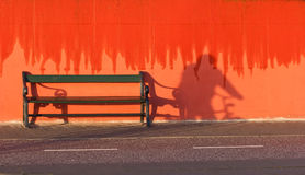 Bench and red wall. Island of Fanoe in Denmark Stock Image