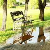 Bench Reflection in the nature park. Stock Photography